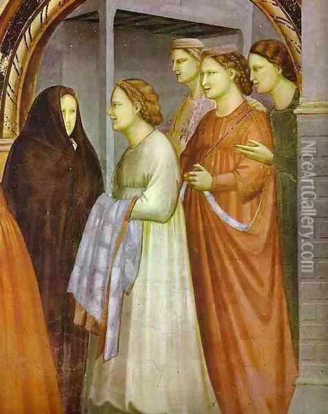 The Meeting At The Golden Gate Detail 1304-1306 Oil Painting - Giotto Di Bondone