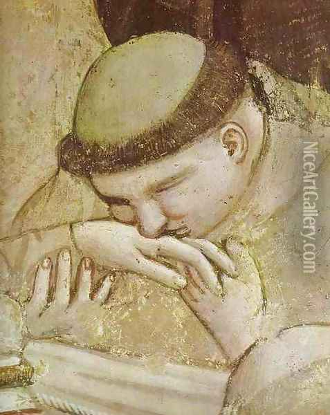 Death Of St Francis And Inspection Of Stigmata Detail 1 1320s Oil Painting - Giotto Di Bondone