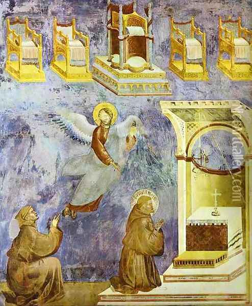 The Vision Of The Thrones 1295-1300 Oil Painting - Giotto Di Bondone