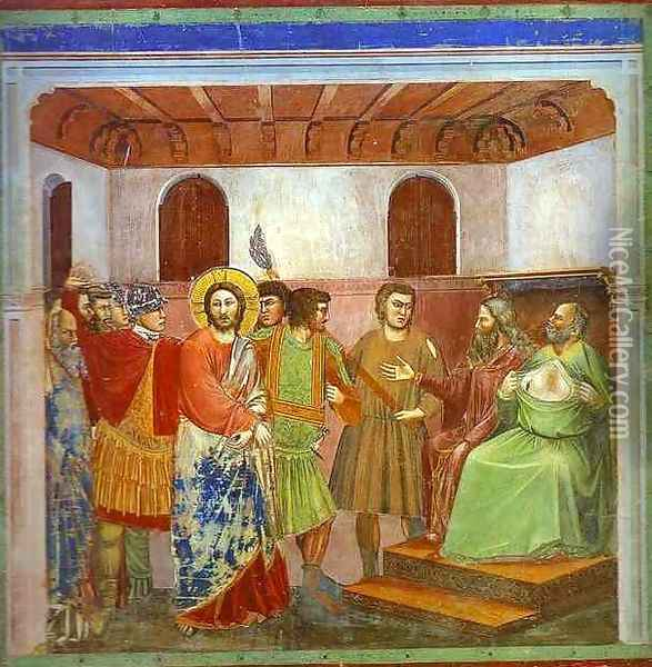 Christ Before Caiphus 1304-1306 Oil Painting - Giotto Di Bondone