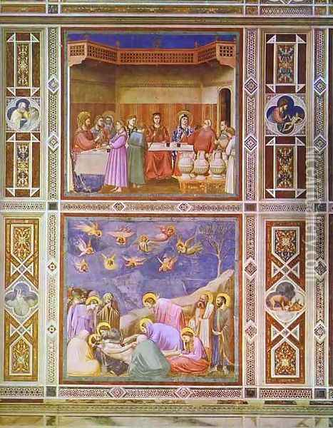 The Wedding Feast At Cana And The Deposition Of Christ 1304-1306 Oil Painting - Giotto Di Bondone