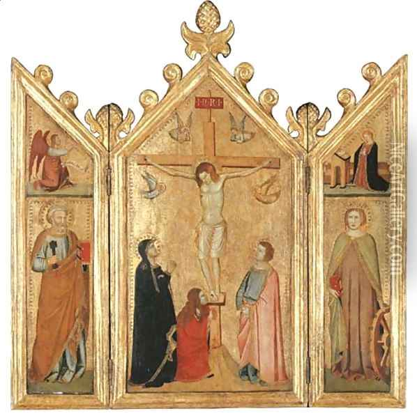 The Crucifixion with the Magdalen at the Foot of the Cross Oil Painting - Giotto Di Bondone
