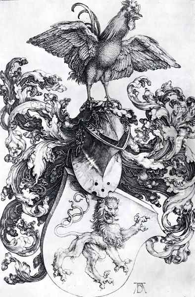 Coat Of Arms With Lion And Rooster Oil Painting - Albrecht Durer
