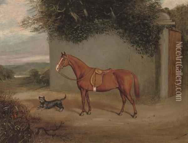 A Chestnut Hunter In A Stable Oil Painting - Henry Frederick Lucas-Lucas