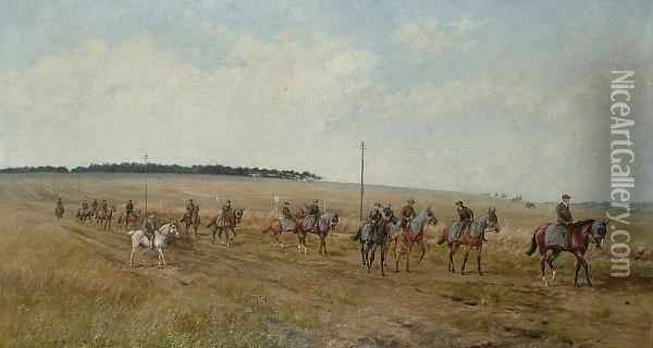 Bedford Cottage String At Exercise In Warren Hill, Newmarket Oil Painting - Henry Frederick Lucas-Lucas