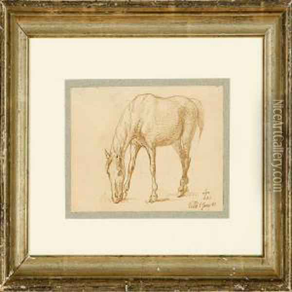 A Grazing Horse Oil Painting - Johan Thomas Lundbye