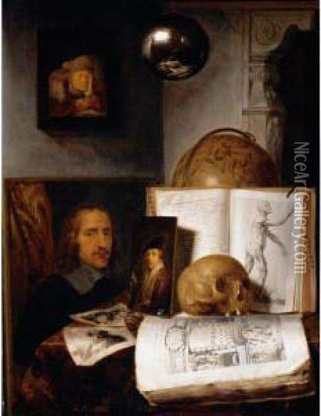 Still Life Of Books, Prints,  Paintings, A Skull, Shell And A Globe Upon A Table Draped With A Green  Cloth, A Sphere And A Painting Hanging Above Oil Painting - Simon Luttichuys