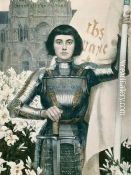 Handkolorerad. Jeanne D'arc. Proveniens: Sofierosslottsauktion 1974. Oil Painting - Albert Lynch