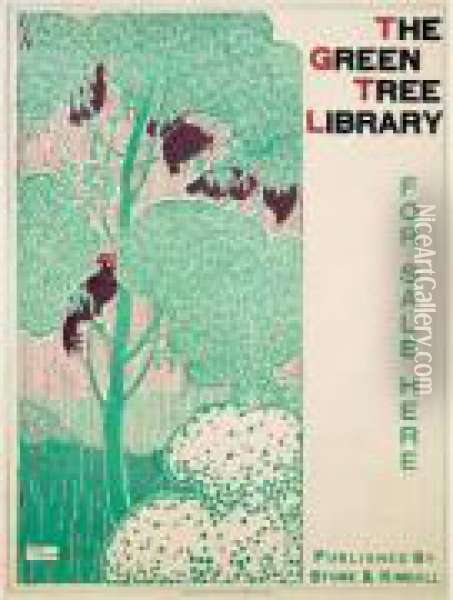The Green Tree Library. Affiche De Librairie. 1895. Oil Painting - Henry Bainbridge Maccarter