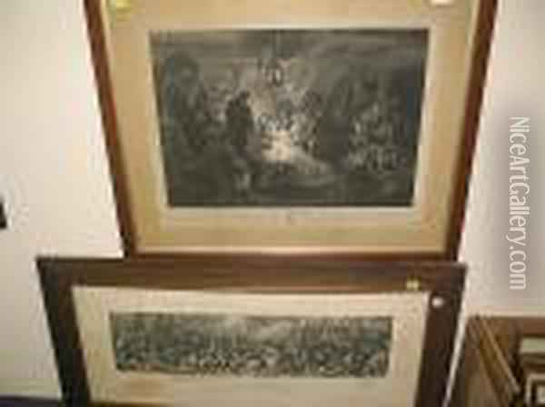 The Death Of Nelson,  , Together With Another Engraving By Bromley After Devis, The Death Of Horation, Viscount And Baron Nelson Of The Nile Oil Painting - Daniel Maclise