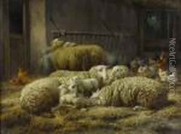 Sheep And Chickens In A Barn Oil Painting - Eugene Remy Maes