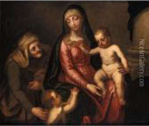 The Madonna And Child With The Infant Saint John The Baptist And Saint Anne Oil Painting - Alessandro Maganza