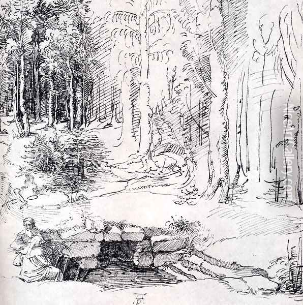 Forest Glade With A Walled Fountain By Which Two Men Are Sitting (or St. Anthony And St. Paul, Identified By The Flying Raven) Oil Painting - Albrecht Durer
