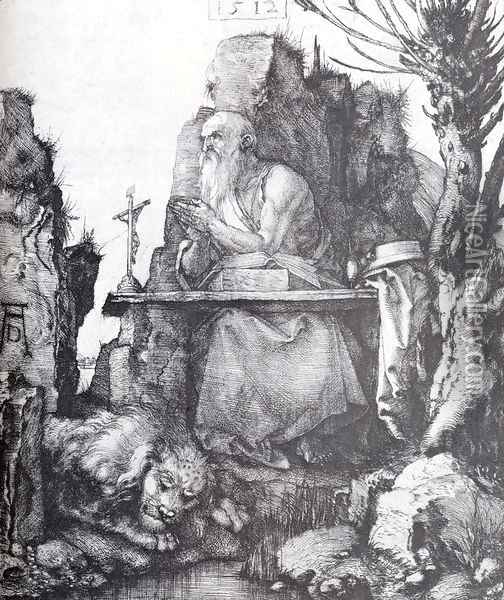 St. Jerome By The Pollard Willow Oil Painting - Albrecht Durer