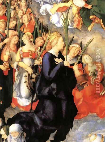 The Adoration of the Trinity (detail 1) Oil Painting - Albrecht Durer