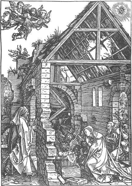 Life of the Virgin 9. The Adoration of the Shepherds. (The Nativity) Oil Painting - Albrecht Durer