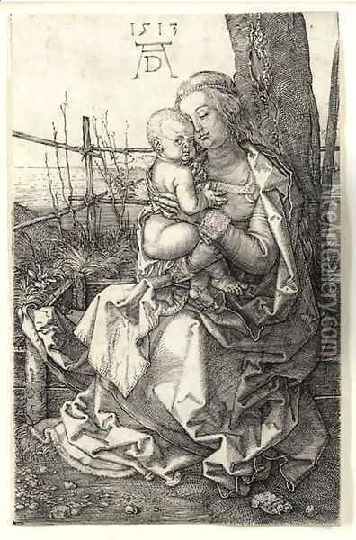 The Virgin and Child seated by a Tree Oil Painting - Albrecht Durer