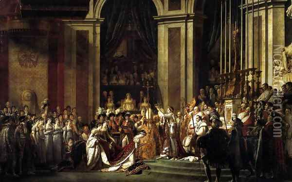 Consecration of the Emperor Napoleon I and Coronation of the Empress Josephine 1805-07 Oil Painting - Jacques Louis David