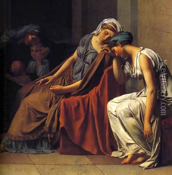 The Oath of the Horatii (detail 3) 1784 Oil Painting - Jacques Louis David