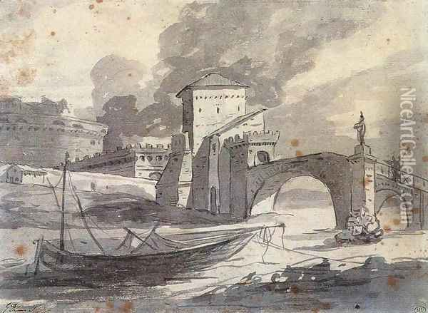 View of the Tiber and Castel St Angelo 1776-77 Oil Painting - Jacques Louis David