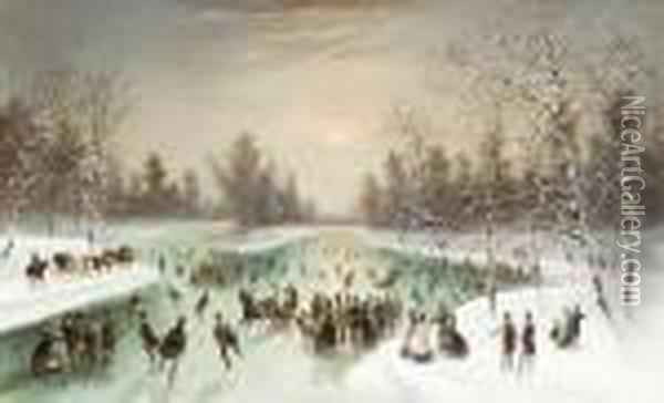 Skaters In A Snowy Landscape Oil Painting - Louis-Claude Mallebranche