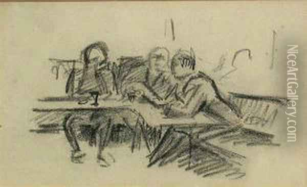 Street Scene; Tavern Scene With 3 Figures(2) Oil Painting - Jean Hippolyte Marchand