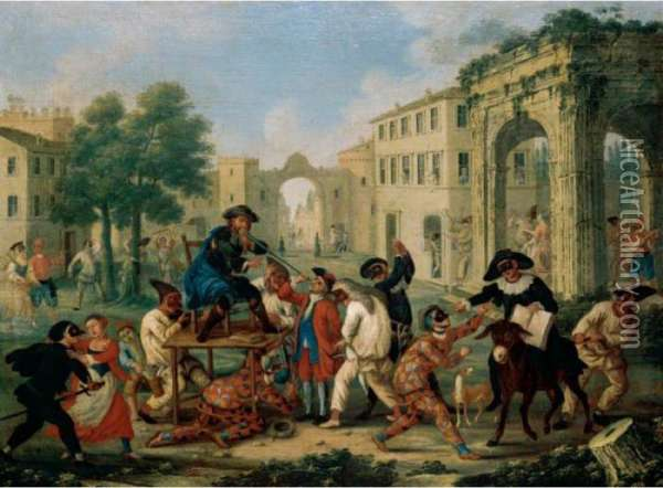 A Carnival Scene With Figures In Masquerade Dress Riding A Donkey In A Street Oil Painting - Marco Marcola