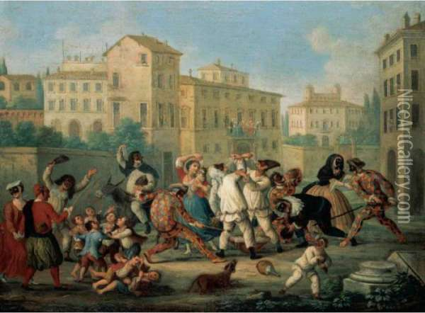 Carnival Scene With Children Dancing And Figures In Oil Painting - Marco Marcola
