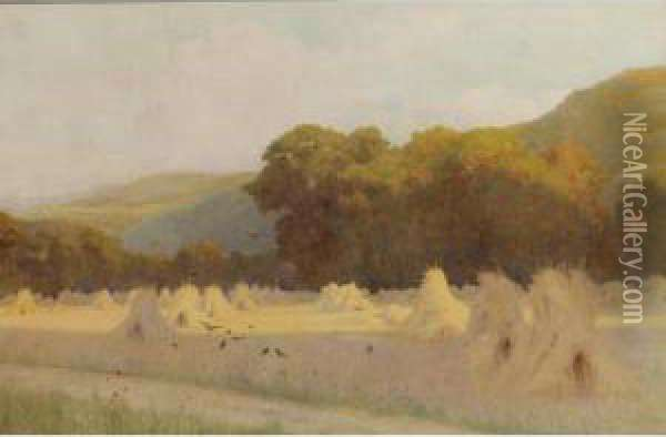 A Summer Evening: Cornstooks In A Field Near Downs Oil Painting - George Marks