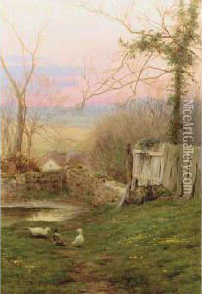 Evening's Final Hour And A Mill Pond: Two Works Oil Painting - George Marks