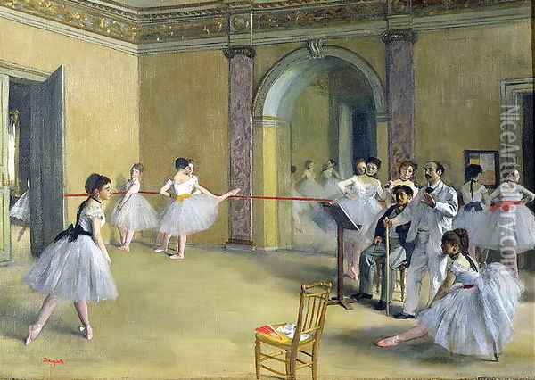 The Dance Foyer at the Opera on the rue Le Peletier, 1872 Oil Painting - Edgar Degas