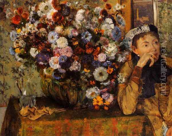 A Woman Seated beside a Vase of Flowers Oil Painting - Edgar Degas