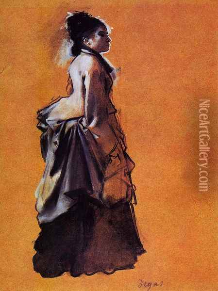 Young Woman in Street Dress Oil Painting - Edgar Degas