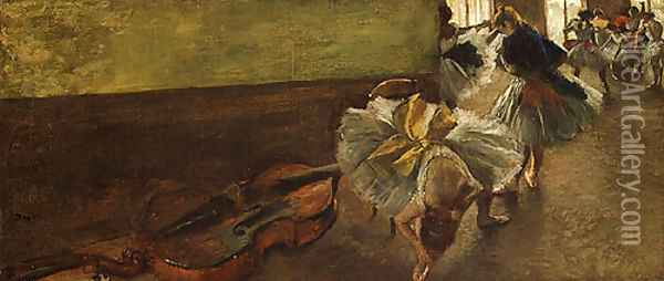 Dancers in the Rehearsal Room with a Double Bass Oil Painting - Edgar Degas