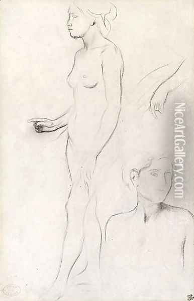 A nude Study for the Figure of Semiramis and futher Studies for her Hand and the Head and Shoulders of an Attendant Oil Painting - Edgar Degas