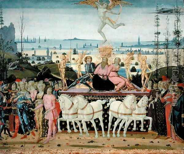 Triumph of Love, inspired by Triumphs by Petrarch 1304-74 Oil Painting - Jacopo Del Sellaio