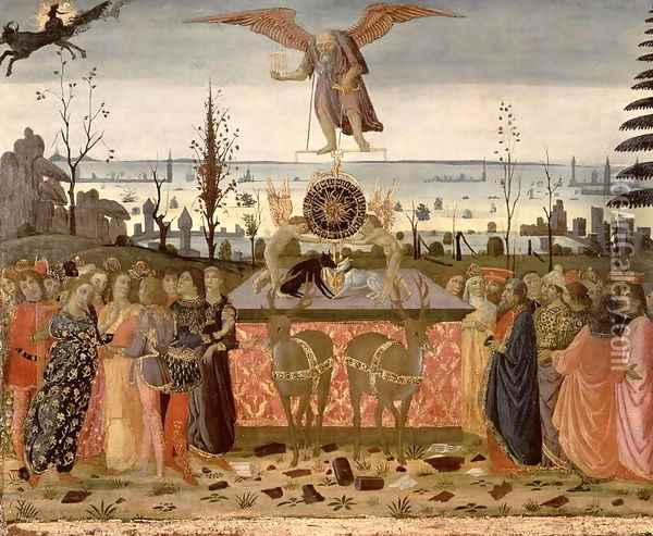 Triumph of Time, inspired by Triumphs by Petrarch 1304-74 Oil Painting - Jacopo Del Sellaio