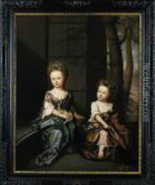 Double Portrait Of Juliana And Charity Hele Oil Painting - James Francis Maubert