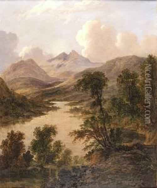 A Panoramic Scottish View, Possibly Queen's View Oil Painting - Horatio McCulloch