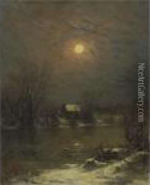 Under A Full Moon Oil Painting - Jervis McEntee