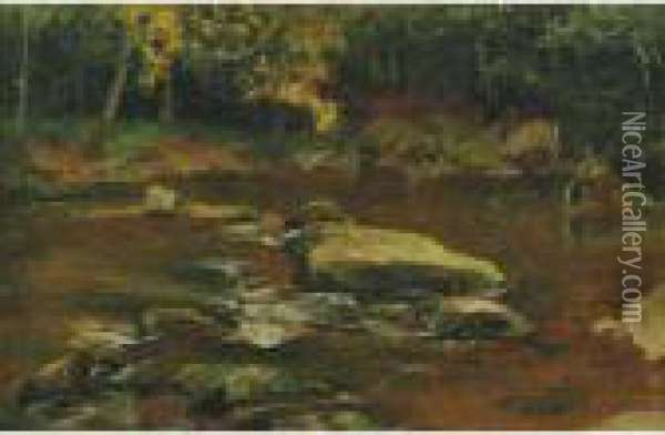 Where The Trout Run Oil Painting - Jervis McEntee