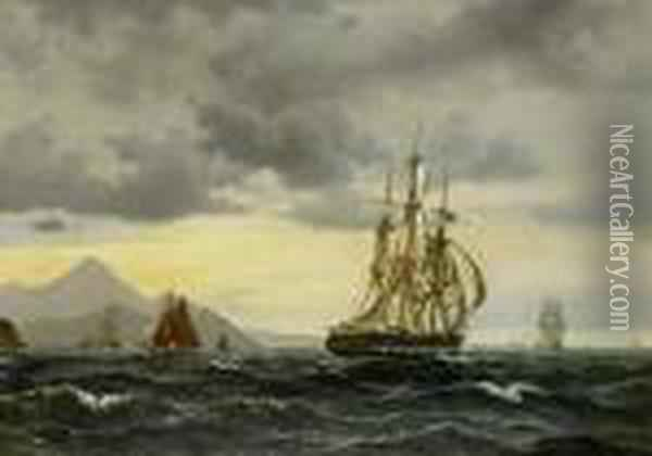 An English Frigate Running Up A Rocky Coast With Small Craft Inshore Oil Painting - Vilhelm Melbye