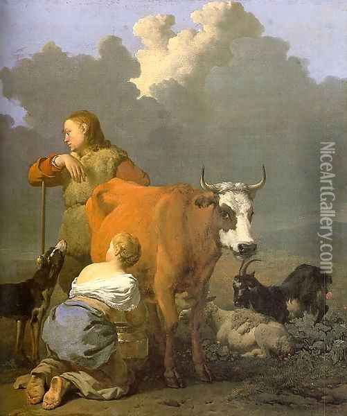 Woman Milking a Red Cow 1650s Oil Painting - Karel Dujardin