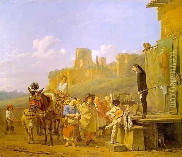 A Party of Charlatans in an Italian Landscape 1657 Oil Painting - Karel Dujardin