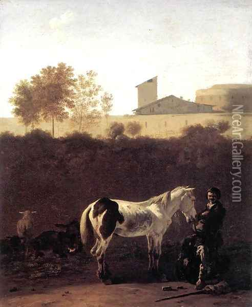 Italian Landscape with Herdsman and a Piebald Horse c. 1675 Oil Painting - Karel Dujardin