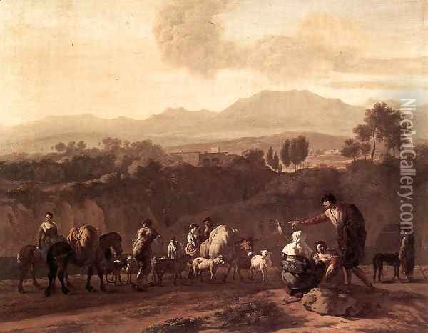 Landscape in the Roman Campagna 1675 Oil Painting - Karel Dujardin