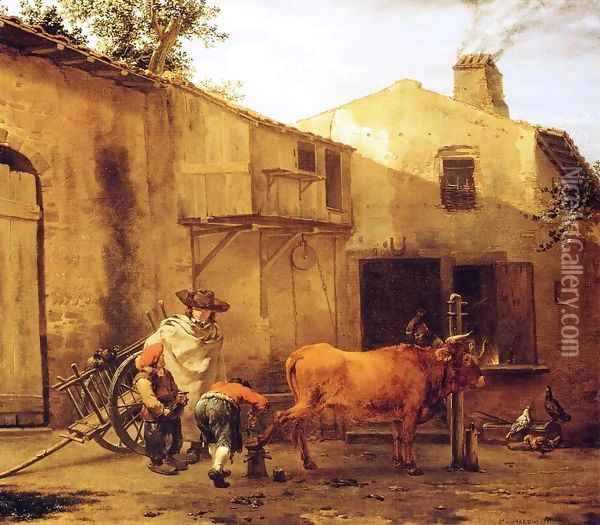 A Smith Shoeing an Ox Oil Painting - Karel Dujardin