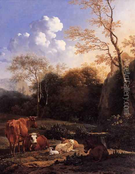 Cows and Sheep at a Stream Oil Painting - Karel Dujardin