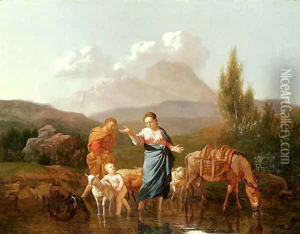 Holy family at a stream Oil Painting - Karel Dujardin