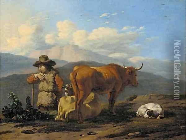 An Italianate landscape with a herdsman with cattle and a dog Oil Painting - Karel Dujardin
